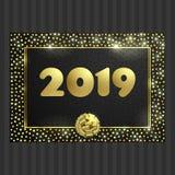 Μαύρη και χρυσή κάρτα με το χρυσό πλαίσιο κύκλων, κορδέλλα διανυσματική απεικόνιση