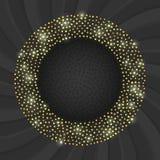 Μαύρη και χρυσή κάρτα με το χρυσό πλαίσιο κύκλων διανυσματική απεικόνιση