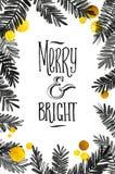 Μαύρη και χρυσή κάρτα Χαρούμενα Χριστούγεννας Χρυσός λαμπρός ακτινοβολεί και οι κλάδοι δέντρων Watercolor Αφίσα Tamplate χαιρετισ απεικόνιση αποθεμάτων