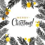 Μαύρη και χρυσή κάρτα Χαρούμενα Χριστούγεννας Χρυσός λαμπρός ακτινοβολεί κλάδοι δέντρων Watercolor Αφίσα χαιρετισμού καλλιγραφίας Στοκ Φωτογραφία