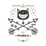 Μαύρη και χρυσή συρμένη χέρι χαριτωμένη γάτα με το μεγάλο χαμόγελο και τα διασχισμένα εικονίδια βελών απεικόνιση αποθεμάτων