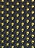 Μαύρη και χρυσή σύσταση δέρματος ποδοσφαίρου ή ποδοσφαίρου γεμισμένη σφαίρα Στοκ φωτογραφίες με δικαίωμα ελεύθερης χρήσης