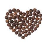 Μαύρη καρδιά πιπεριών που απομονώνεται στην άσπρη ανασκόπηση Στοκ φωτογραφία με δικαίωμα ελεύθερης χρήσης