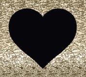 Μαύρη καρδιά σε ένα χρυσό υπόβαθρο με μια σύσταση Στοκ Εικόνα