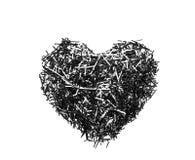 Μαύρη καρδιά στο άσπρο υπόβαθρο Στοκ Εικόνες