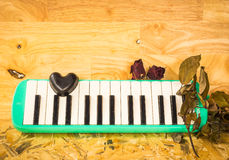 Μαύρη καρδιά και melodion Στοκ φωτογραφίες με δικαίωμα ελεύθερης χρήσης