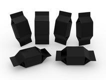Μαύρη κενή συσκευασία για το τετραγωνικό προϊόν μορφής Στοκ Εικόνες