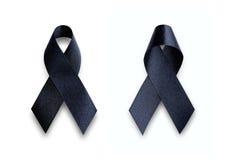 Μαύρη κορδέλλα συνειδητοποίησης Πένθος και σύμβολο μελανώματος Στοκ Εικόνες