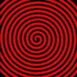 Μαύρη κόκκινη στρογγυλή αφηρημένη υπνωτική σπειροειδής ταπετσαρία δίνης διανυσματική απεικόνιση