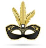Μαύρη μάσκα με τα χρυσά φτερά ελεύθερη απεικόνιση δικαιώματος