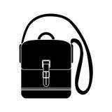 Μαύρη με ελεύθερα χέρια βαλίτσα ταξιδιού σκιαγραφιών με τα λουριά διανυσματική απεικόνιση