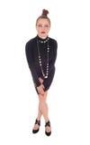 μαύρη μόνιμη γυναίκα φορεμάτ& Στοκ Εικόνα