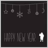 Μαύρη νέα κάρτα έτους με την άσπρη σκιαγραφία Άγιου Βασίλη και του κειμένου επίσης corel σύρετε το διάνυσμα απεικόνισης Στοκ Φωτογραφία