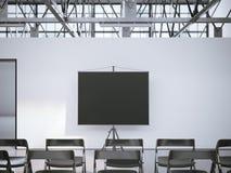 Μαύρη οθόνη κυλίνδρων παρουσίασης στη αίθουσα συνδιαλέξεων τρισδιάστατη απόδοση Στοκ Εικόνες
