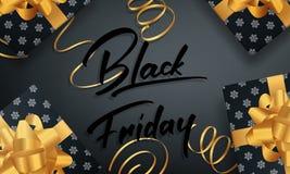 μαύρη Παρασκευή Έμβλημα για τη χειμερινή εποχιακή πώληση Στιλπνές συσκευασίες και χρυσό κομφετί Στοκ Εικόνες