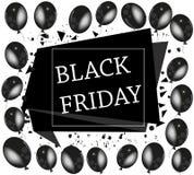 Μαύρη Παρασκευή 2017, στις 24 Νοεμβρίου Το έμβλημα, πρότυπο με το μαύρο μπαλόνι και ψεκάζει το υπόβαθρο Στοκ Εικόνες