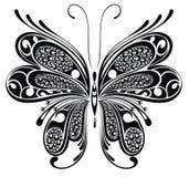 Μαύρη πεταλούδα. Σχέδιο δερματοστιξιών διανυσματική απεικόνιση