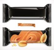 Μαύρη πολυμερής συσκευασία για τα τρόφιμα Φραγμός σοκολάτας, τρισδιάστατο διανυσματικό εικονίδιο διανυσματική απεικόνιση