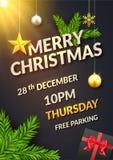 Μαύρη πρόσκληση αφισών ή ιπτάμενων υποβάθρου Χριστουγέννων Αστέρι σφαιρών Χριστουγέννων και κιβώτιο δώρων με τη διακόσμηση σχεδίο ελεύθερη απεικόνιση δικαιώματος