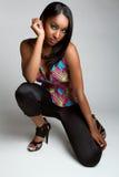 μαύρη πρότυπη γυναίκα μόδας στοκ φωτογραφίες