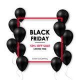 μαύρη πώληση Παρασκευής ε&m Λαμπρά μαύρα μπαλόνια στο άσπρο υπόβαθρο με το κόκκινο πλαίσιο ελεύθερη απεικόνιση δικαιώματος