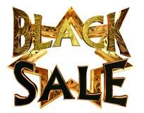 Μαύρη πώληση κειμένων σε ένα χρυσό αστέρι σε ένα άσπρο υπόβαθρο Στοκ Εικόνα