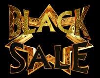 Μαύρη πώληση κειμένων σε ένα χρυσό αστέρι σε ένα μαύρο υπόβαθρο Στοκ Εικόνες