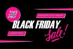 μαύρη πώληση Παρασκευής Αυτό το ειδικό έμβλημα προσφοράς Σαββατοκύριακου, έκπτωση μέχρι 75% μακριά χαμηλότερη τιμή Στοκ Εικόνες