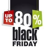 Μαύρη πώληση Παρασκευής μέχρι 80 τοις εκατό από το μαύρο υπόβαθρο Στοκ Φωτογραφία