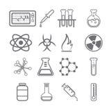 Μαύρη σειρά εικονιδίων επιστήμης Στοκ Εικόνες