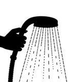 μαύρη σκιαγραφία Κεφάλι ντους λαβής χεριών Απελευθερώσεις νερού Επίπεδη διανυσματική απεικόνιση που απομονώνεται στο άσπρο υπόβαθ απεικόνιση αποθεμάτων