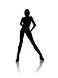 μαύρη σκιαγραφία κοριτσιώ& Στοκ εικόνα με δικαίωμα ελεύθερης χρήσης