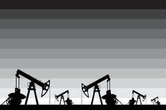 Μαύρη σκιαγραφία της αντλίας πετρελαίου Στοκ Εικόνα