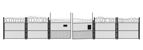Μαύρη σκιαγραφία της φυλακής στο άσπρο υπόβαθρο Γκέιτς και πλέγμα χάλυβα σύμβολο της ελευθερίας Στοκ Εικόνες