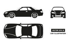 Μαύρη σκιαγραφία του αυτοκινήτου σε ένα άσπρο υπόβαθρο Τοπ, μπροστινή και πλάγια όψη Στοκ Φωτογραφία