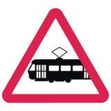 Μαύρη σκιαγραφία του τραμ στο κόκκινο πλαίσιο τριγώνων, διανυσματικό εικονίδιο, σημάδι κυκλοφορίας Στοκ Εικόνα