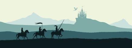 Μαύρη σκιαγραφία των ιπποτών στο υπόβαθρο του κάστρου στοκ φωτογραφία