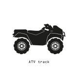 Μαύρη σκιαγραφία ATV σε ένα άσπρο υπόβαθρο Στοκ εικόνα με δικαίωμα ελεύθερης χρήσης