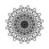 Μαύρη σκιαγραφιών λουλουδιών διακόσμηση στροβίλου mandala εκλεκτής ποιότητας διακοσμητική απεικόνιση αποθεμάτων