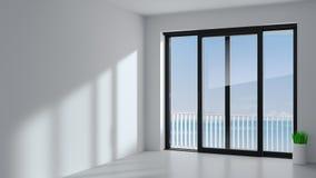 Μαύρη συρόμενη πόρτα στο δωμάτιο στοκ εικόνα με δικαίωμα ελεύθερης χρήσης