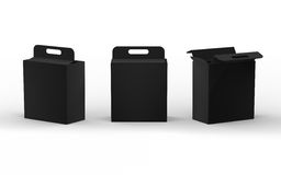 Μαύρη συσκευασία κιβωτίων εγγράφου χαρτονιού με τη λαβή, πορεία ψαλιδίσματος διανυσματική απεικόνιση
