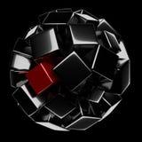 Μαύρη σφαίρα με το κόκκινο στοιχείο Στοκ Φωτογραφίες