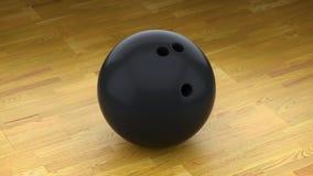 Μαύρη σφαίρα μπόουλινγκ σε ένα καθαρό ξύλινο πάτωμα διανυσματική απεικόνιση