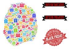 Μαύρη σύνθεση Παρασκευής του χάρτη μωσαϊκών του νησιού Nevis και του κατασκευασμένου γραμματοσήμου ελεύθερη απεικόνιση δικαιώματος