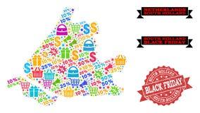 Μαύρη σύνθεση Παρασκευής του χάρτη μωσαϊκών της νότιας Ολλανδίας και της σφραγίδας Grunge ελεύθερη απεικόνιση δικαιώματος