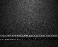 Μαύρη σύσταση δέρματος με τη βελονιά Στοκ Εικόνα