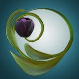 μαύρη τουλίπα Όμορφο πράσινο πλαίσιο Μοναδικό έμβλημα για το congratula Στοκ εικόνες με δικαίωμα ελεύθερης χρήσης