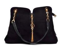 Μαύρη τσάντα γυναικών σουέτ στοκ φωτογραφίες με δικαίωμα ελεύθερης χρήσης