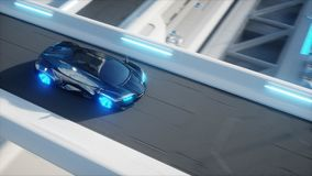 Μαύρη φουτουριστική ηλεκτρική γρήγορη οδήγηση αυτοκινήτων πολύ sci στο FI sity, πόλη Έννοια του μέλλοντος τρισδιάστατη απόδοση ελεύθερη απεικόνιση δικαιώματος