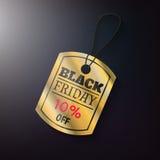 Μαύρη χρυσή ετικέττα πωλήσεων Παρασκευής Στοκ φωτογραφία με δικαίωμα ελεύθερης χρήσης